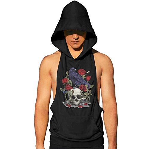 ZKGOD Mens Workout Hooded Shirts Sleeveless Tank Top-Skull-Design Head Bird Devil Rose Skull Design Style]()