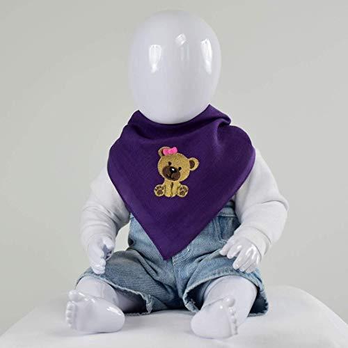 Nuschel Burp Cloth & Bib - Purple with ''Girl Teddy'' Embroidery Design (Teddy Embroidery Design)
