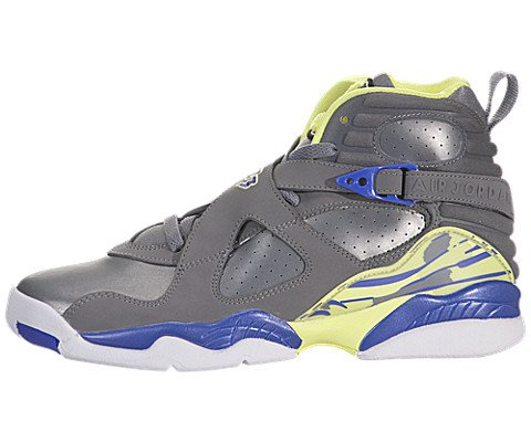Jordan Nike Kids Air 8 Retro (GS) Cool Grey/Vlt Frc/Elctrc Yllw Basketball Shoe 6 Kids US by Jordan
