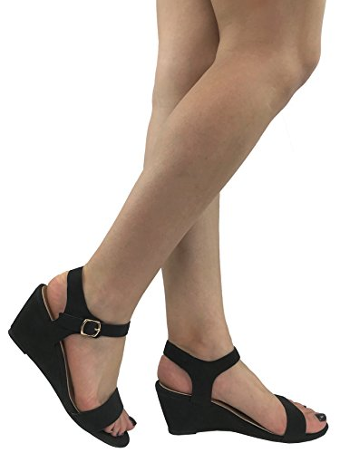 Womens Open Toe Wedge Sandal Ankle Strap Over Toe Mid High Heel, Black, 8