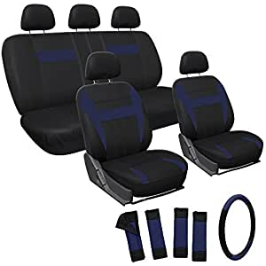 OxGord Car Seat Covers - 17pc Set Flat Cloth - Blue Black - Front Low Buckets - 50-50 or 60-40 Rear Split Bench - 5 Head Rests - Universal for Car, Truck, Suv, or Van - with Steering Wheel Cover
