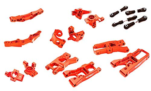 Integy RC Model Hop-ups C28347RED Billet Machined Suspension Kit Conversion for Traxxas 1/10 4-Tec 2.0