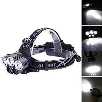 80000LM 5x LED Headlamp Headlight Rechargeable Light with USB Cable+Battery