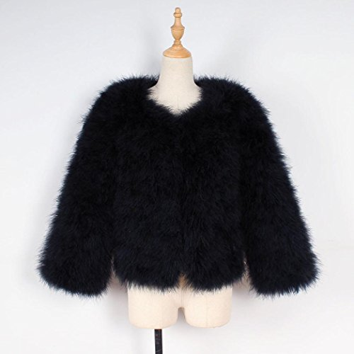 Outwear Janly® Females Feather Jacketr Ostrich Overcoat Fluffy Coat Warm Fur Short Faux Soft Black Winter Womans v5qfTvw