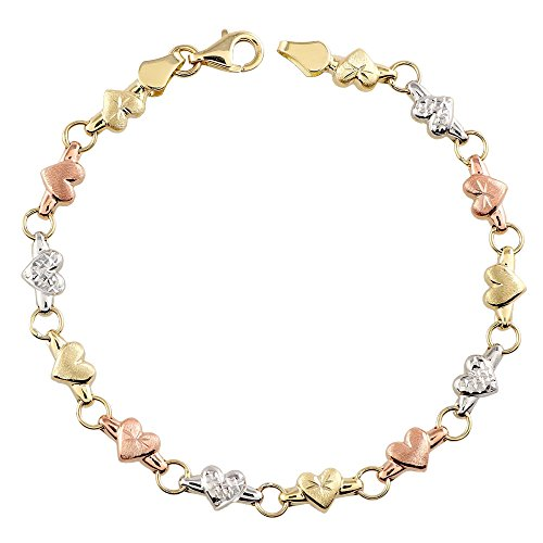 Tousi Gold Chain Link Bracelet- 14K Tri Color Jewelry Bracelets links – Cute Rose White Yellow Gift for Her - Size 7.25 Inches by TOUSI JEWELERS