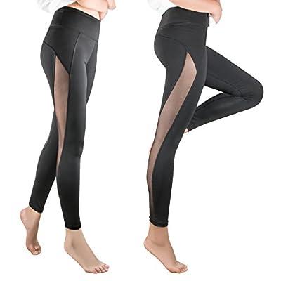 NIOFEI Womens Yoga Pants Capris Leggings Inner Pocket Mesh Black Sports Leggings for Women