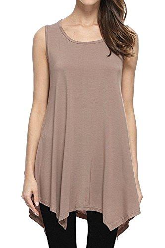 JollieLovin Womens Plus Size Loose-fit Sleeveless T-shirt Tank Tunic Top (Khaki, 1X)