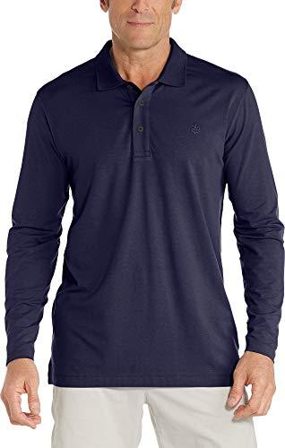 Coolibar UPF 50+ Men's Long Sleeve Weekend Polo Shirt - Sun Protective (Large- Navy)