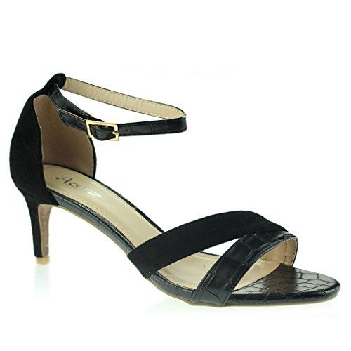 Mujeres Señoras Punta Abierta Delgado Tacón Medio Noche Diario Casual Sandalias Zapatos Talla Negro
