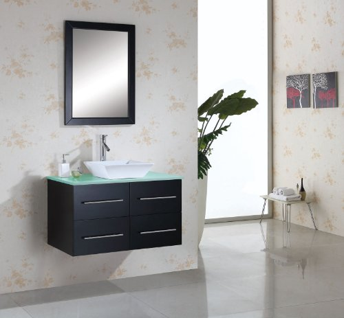 Virtu USA MS-565-G-ES Marsala 35-Inch Bathroom Vanity with Single Sink, Espresso Finish