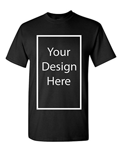 Add Your Own and Text Design Custom Personalized Adult T-Shirt Tee (Small, Black)