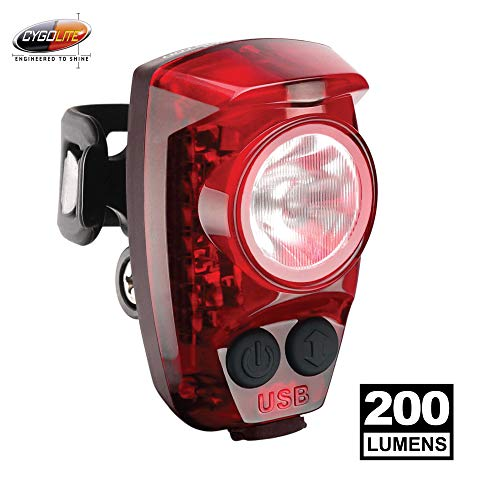 Cygolite Hotshot Pro 200 Lumen Bike Tail Light 6 Night Daytime Modes User Tuneable Flash Speed Compact Design Ip64 Water Resistant Sturdy Flexible Mount Usb Rechargeable Great For Busy Roads