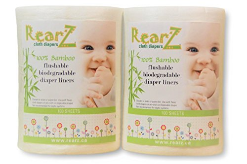 Rearz - All Natural, 100% Bamboo Diaper Liners - 100 Sheets (2 Pack) All Natural Diaper