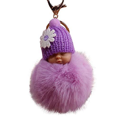 Baby Plush Keychain - Cloudro Key Chains,Cute Fluffy Pompom Sleeping Baby Doll Keychains Soft Faux Fur Ball Pendant Key Chain Car Keyring Cellphone Charm Clearance (Purple)