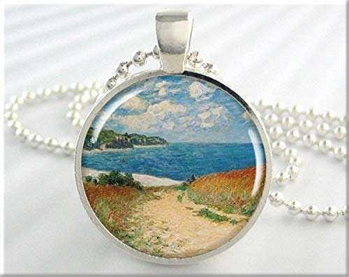 (Art Picture Necklace,Monet Seashore Necklace, Resin Charm, Impressionist Art Pendant, Monet Wheat Pourville, Picture Jewelry, Gift Under, Classic Art ,Gift of Love)