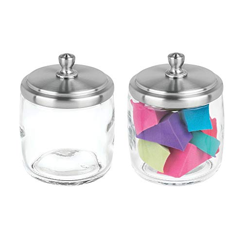 mDesign Bathroom Vanity Glass Storage Organizer Canister Apothecary Jar for Cotton Swabs, Rounds, Balls, Makeup Sponges, Beauty Blenders, Bath Salts - 2 Pack, Clear/Brushed