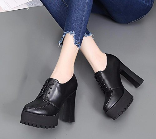 KHSKX Black 12Cm Korean Version Of New Autumn Ladies Boot With Waterproof Taiwan Thick With High-Heeled Boots The Head Strap And Versatile Bare Boots Red Women Boots 34 DLKHzDDM