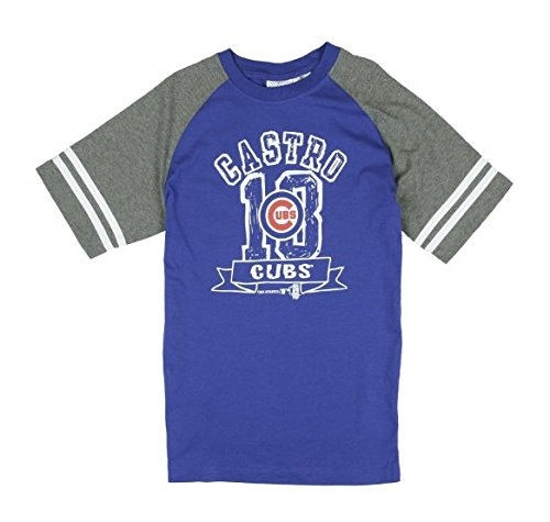 (Outerstuff Chicago Cubs Starlin Castro # 13 MLB Little Boys and Big Boys Short Sleeve Shirt - Blue/Grey (Large (10/12)))