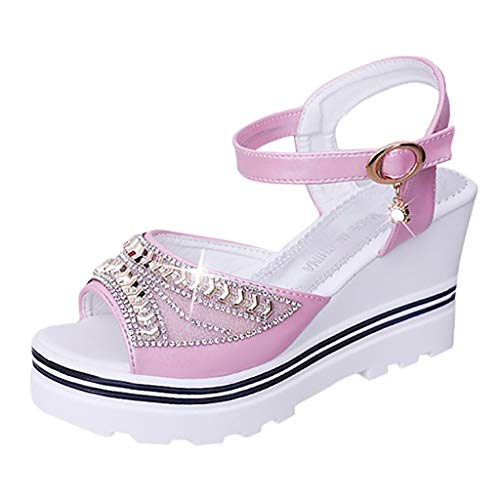 ◕‿◕Watere◕‿◕ Womens Wedges Sandals,Fashion Women Summer Pumps Platform Sandal Roman Wedges Crystal Peep Toe Sandals Pink -