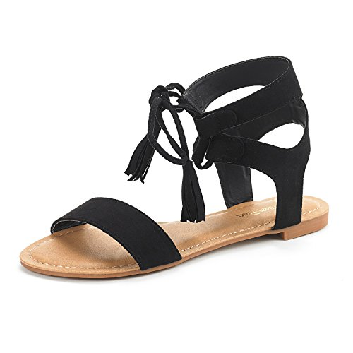 DREAM PAIRS Women's Bowtie Black Ankle Strap Gladiator Flat Sandals Size 9 M US (Strappy Sandals Womens)