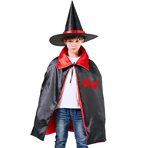Kids Cloak Dog Red Footprints Wizard Witch Cap Hat Cape All Hallow Mas Costume Magician Halloween Party Boys DIY Prop