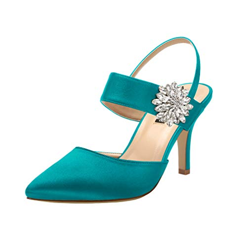 ERIJUNOR E0064 Mid Heel Shoes for Women Pointed Toe Slingback Rhinestone Brooch Satin Dress Pumps Evening Prom Wedding Shoes Teal Size 10