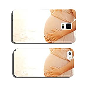 Pregnant woman on the beach touching her belly with love cell phone cover case iPhone5