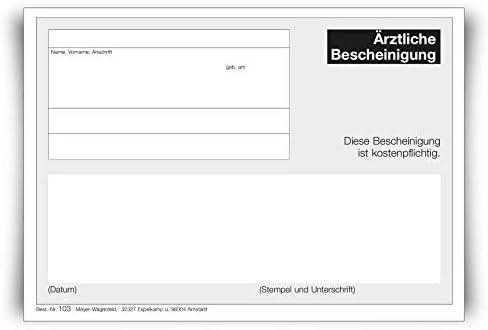 Ärztliche Bescheinung | 5 Blöcke | von MEYER-WAGENFELD: Agentur & Druckerei für Ärzte | DIN A6 Format | zu je 100 Blatt geblockt