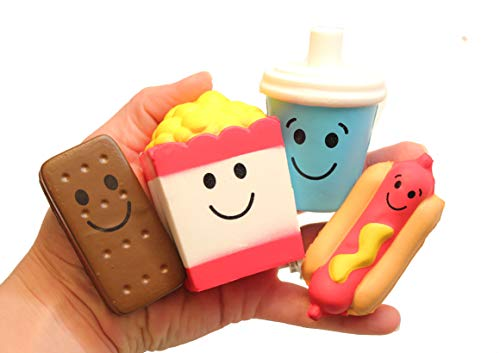 Set of 4 Cute Movie Theater Food Snacks Squishy Slow Rise Foam Characters - Drink, Popcorn, Hot Dog and Ice Cream Sandwich Scented Sensory, Stress, Fidget Toy Dog Ice Cream Sandwiches