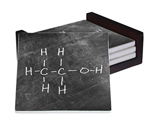 Ethanol Molecular Structure 4-Piece Sandstone Coaster Set - Caddy Included -