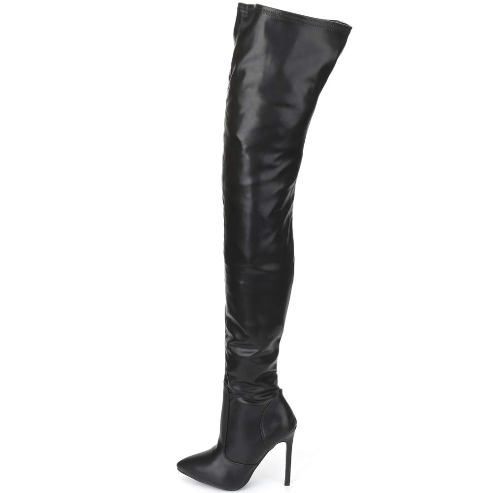 Women's Over the Knee Thigh-High Stiletto Heels Black Faux Leather Pirate Boots - DeluxeAdultCostumes.com
