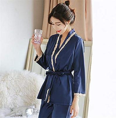 Albornoz Pijamas de seda en color liso para mujeres. Conjunto de 3 ...