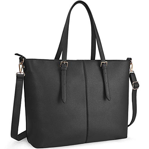 Laptop Tote Bag for Women 15.6 Inch Waterproof Lightweight Leather Computer Laptop Bag Women Business Office Work Bag Briefcase Large Travel Handbag Shoulder Bag Black