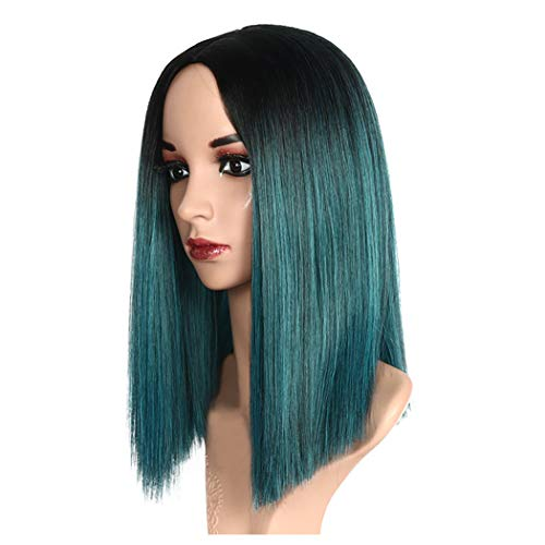 Inkach Clearance Long Straight Wig, Black Women Middle Part Ombre Color Full Wigs Heat Resistant Synthetic Fiber Female Wig (Blue) ()