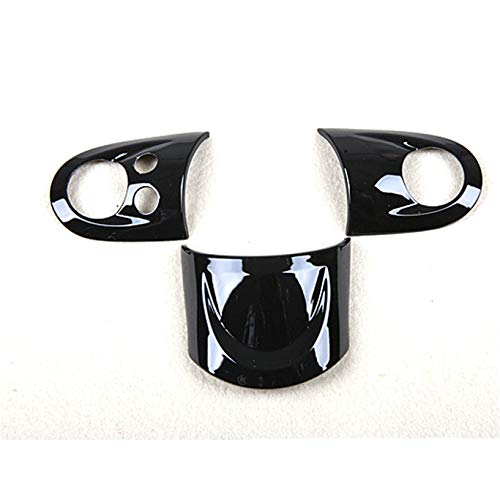 HDX Steering Wheel Dashboard Panel Cover Trim Cap ABS for Mini Cooper R55 Clubman R56 Hatchback R57 Covertible R58 Coupe R59 Roadster R60 Countryman R61 Paceman (with Media Button, Black)
