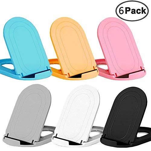 JEZOMONYPocket-Sized Colorful Portable Foldable Phone Stand,Desktop Phone Holder Adjustable Universal Multi-Angle Cradle,Compatible with iPads,Tablets,E-Readers,Cellphones, Kindles(6pack)