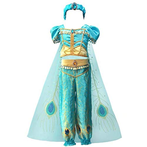 Tsyllyp Girls 4pcs Princess Jasmine Dress Up Aladdin Halloween Costumes Party Outfit Cosplay with Cape Headband Light Blue -