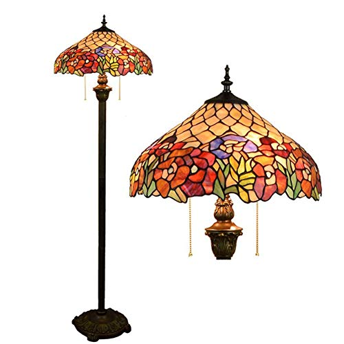 YAYONG Floor Lamp European Retro Stained Glass Living Room Bedroom Bar Club Rose Glass Lamps (Rose Pendant Light Glass)