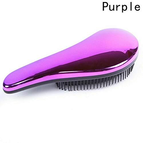 Massage Handle Comb Plating Hair Brush Care Tangle Anti-knot Available Simple | Color - Purple Aqua Brass Prestige Handles