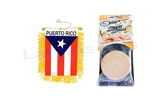 Puerto Rico mini Banner & K29 Keystone Scent-stone Car and Home Air Freshener, Blossom