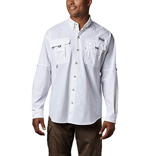 Columbia Men's PFG Bahama II Long Sleeve Shirt , White, Large