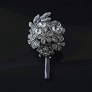 KUPARK Groom Best Man Ribbon Rose Decor Rhinestone Boutonniere Brooch Pin Accessories Wedding Prom Suit Decoration 102