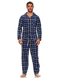 MarCielo Men's Fleece Pajamas, Plaid Flannel Fleece Pajama Set Sleepwear