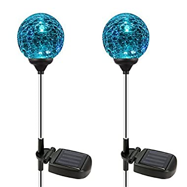 Esky SL75 Crystal Glass Globe Color Changing LED Solar Lights/ Christmas Light Decoration, Garden Decor for Indoor Outdoor Lawn Yard Patio (2 Pack)