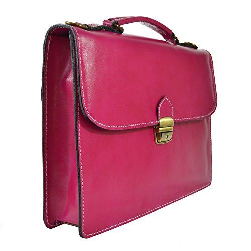 CTM Unisex Business-Tasche, Aktentasche aus echtem Leder hergestellt in Italien D7004 - 38x27x7 Cm Fuchsie
