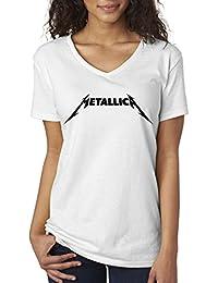 778 - Women's V-Neck T-Shirt Metallica Beavis Butt-Head Parody Logo