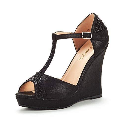 Wedge Peep Toe Buckle - DREAM PAIRS Women's Angeline-02 Black Suede Platform Wedge Sandals Peep Toe Wedge Pumps Size 8.5 M US