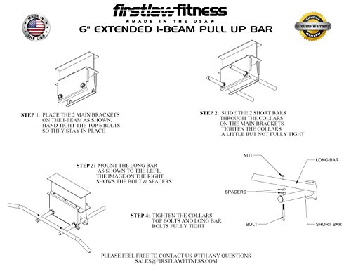 Firstlaw Fitness - 600 LBS Weight Limit - 6'' Extended I-Beam Pull Up Bar - Long Bar with Bent Ends - Durable Rubber Grips - Red Label - Made in the USA! by Firstlaw Fitness (Image #4)