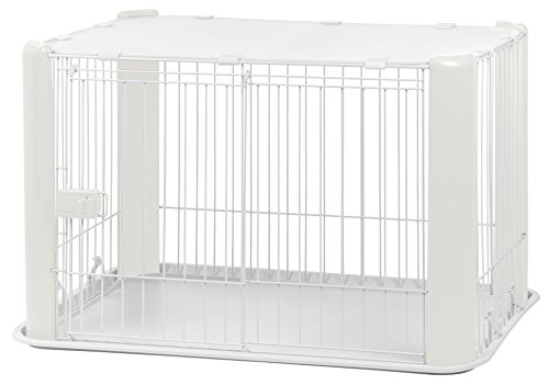 - IRIS Small Wire Dog Crate with Mesh Roof, White