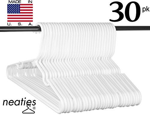 Best Children's White Plastic Hangers, USA Made Long Lasting Tubular Hangers, Set of 30